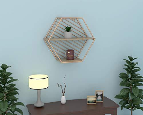 Wooden Twist Metallic Twist Premium Hexagon Wooden Wall Shelf  Golden