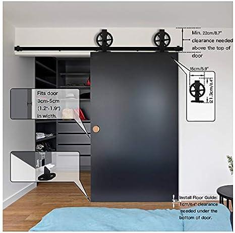 Rail Porte Coulissante 214cm//7ft Noir Convient /à 1 Porte Large de 107 cm CCJH Kit Rail Coulissant Armoire Placard T Shape Big Wheel Hanger