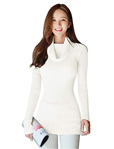 v28 Women Stretchable Cowl Neck Knit Long Sleeve Slim Fit Bodycon Sweater(X-Small, White)