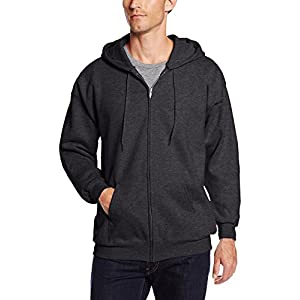 Hanes Men's Full Zip Ultimate Heavyweight Fleece Hoodie, Charcoal Heather, XX-Large