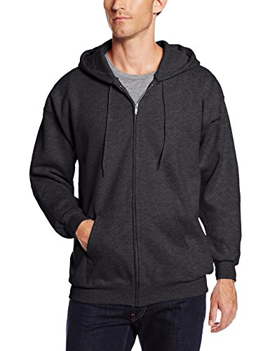 Hanes Men's Full Zip Ultimate Heavyweight Fleece Hoodie, Charcoal Heather, Large
