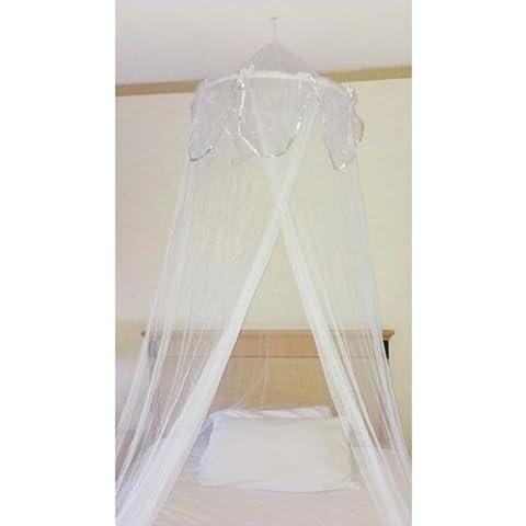 Mosquito Nets 4 U -White Single Bed Canopy with Decorative Silver (4 Letto A Baldacchino)