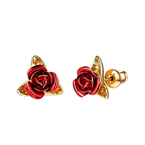 (U7 18K Gold Plated Red Rose Flower Stud Earrings)