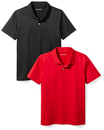 Amazon Essentials Big Boys' 2-Pack Performance Polo, Black/Red, M (8)