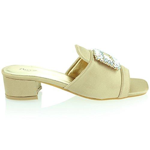 Mujer Señoras Broche Detalle Diamante Ponerse Tacón de Bloque Noche Casual Fiesta Sandalias Zapatos Tamaño Oro