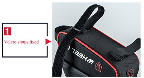 "THREEMAO Waterproof Bike Top Tube Bag Cycling Front Frame Bag Mobile Phone Holder ≤ 6"" Screen with Water Resistant Zipper"