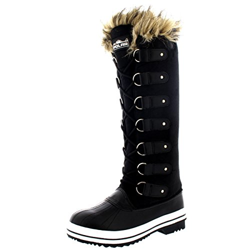 Womens Lace Up Rubber Sole Knee High Winter Snow Rain Shoe Boots - 9 - BLT40 YC0107