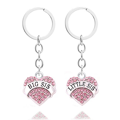 2pcs Family Women Girls Gift Big Little Sister Pink Crystal Charm Love Heart Pendant Key Chain Rings Set
