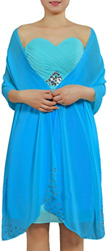 ANTS Women's Chiffon Bridal Evening Soft Wrap Scarf Shawl Color Blue Size 23