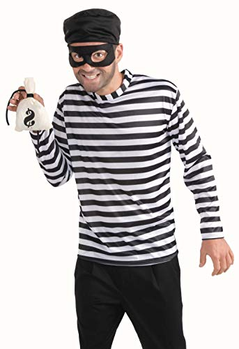 Men's Burglar Costume, White/Black, One -