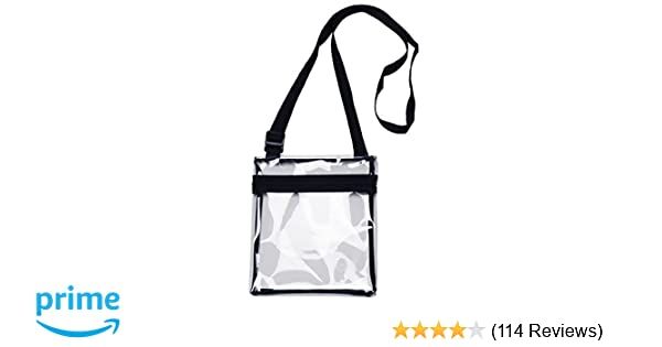 e37f411704 Amazon.com   grinderPUNCH Small Clear Cross-Body Messenger Shoulder Bag  Long Strap - NFL Stadium Approved Clear Purse   Sports   Outdoors