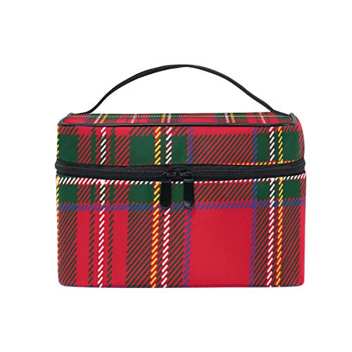 Makeup Cosmetic Bag Red Green Tartan Plaid Pattern Portable Travel Train Case Toiletry Bags Organizer Multifunction Storage