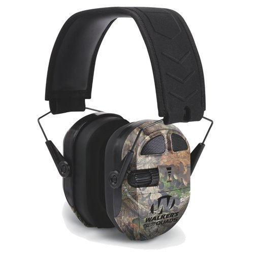 GSM Outdoors GWP-XPMQMO Walkers Game Ear Ultimate Power Muff Quads with Adjustable Frequency Tuning/Electric/Mossy Oak Break Up