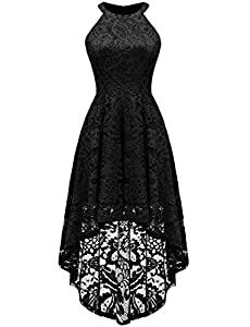 Sepfier Women's Halter Hi-lo Lace Floral Bridesmaid Cocktail Party Swing Dress