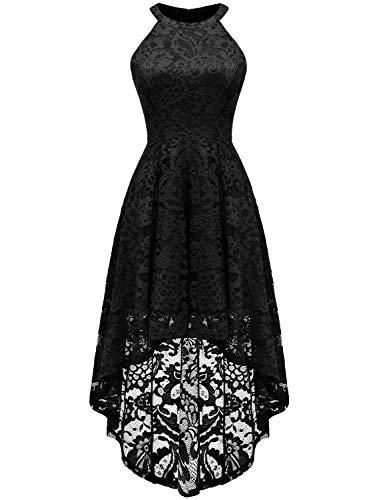 Sepfier Women's Halter Neck Floral Lace Bridesmaid Dress Sleeveless Swing Cocktail Dress Black,M