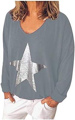 ღLILICATღ Camiseta Basica Mujer Casual Impresión de Pentagrama ...