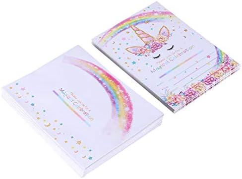 Toyvian 24 tarjetas de invitación con diseño de unicornio ...