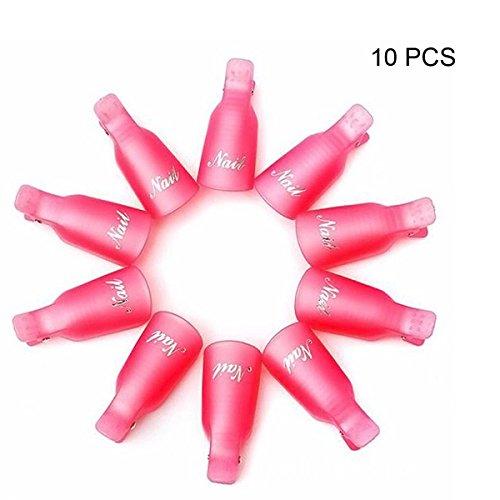 Leeshar Beau 10Pcs Reusable Plastic Acrylic Nail Art Soak Off Cap Clip Uv Gel Polish Remover Wrap Cleaner Cap Tool