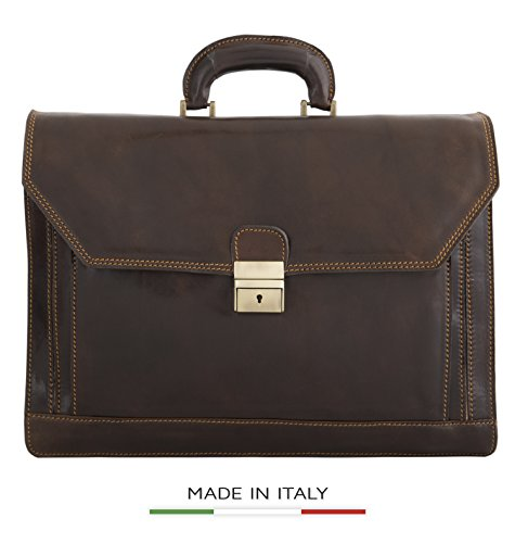 Luggage Depot USA, LLC Men's Alberto Bellucci Italian Leather Triple Compartment Laptop D. Brn Briefcase, Dark Brown, One Size by Luggage Depot USA, LLC