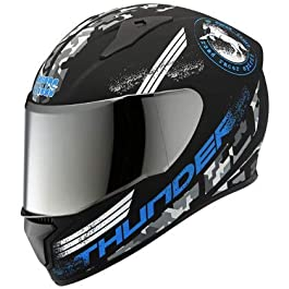 Studds Helmet Thunder D2 with Mirror Visor (Matt Black N1, L)