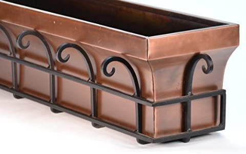 H Potter Copper Window Flower Garden Box Planter (36 Inch Length) - Copper Window Box