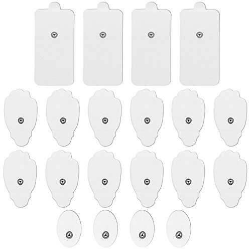 Electrodes for TENS Unit and Electrode Pads for TENS EMS, Self-Adhesive and Reusable for Electrodes Massage FDA Cleared 10 Pairs Small Medium and Large Snap on Pads