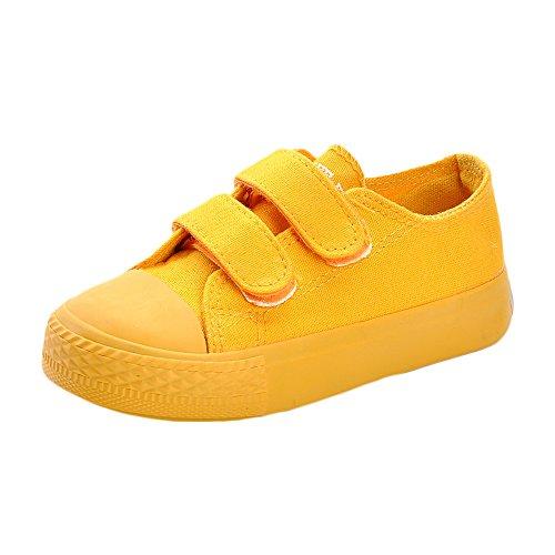 MK MATT KEELY Kids Canvas Shoes Boy Girl Unisex Sneakers Children Hook Loop Loafers School Board Shoes Yellow(Toddler/Little Kid)