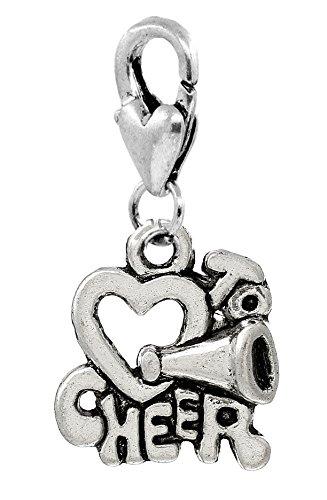 Cheerleader Heart I Love to Cheer Clip Charm for Bracelets