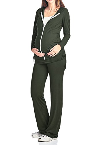 Beachcoco Women's Maternity Lounge Jog Set (L, Jog Set Olive) by Beachcoco