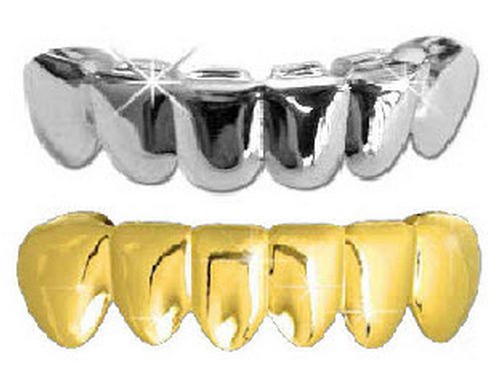 Hip Hop Lower Teeth Silver Platinum & 14K Gold Plated Mouth Grillz Set (Bottom) 2 pc Set Best Grillz 1407