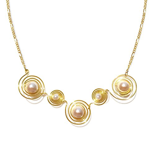 Original Design Handmade Gold-Plated Contemporary Swirl Pearl Necklace for Her