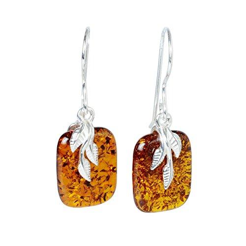 Sterling Silver Baltic Honey Amber Earrings Fern