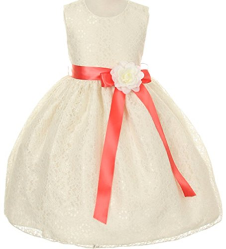 Organza Strapless A-line Skirt (Little Girls Ivory Dress Lace Custom Ribbon Flowers Girls Dresses Coral Ivory 4)