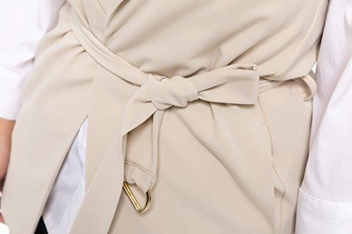 Taille Stone Manches Grande lasticit Chicwe Vest Open sans Pablo Blazer Longueline Femme YZw8qP
