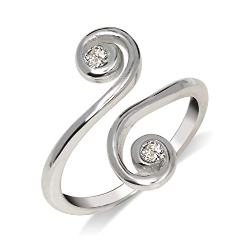 (JewelryWeb Solid 925 Sterling Silver Elegant Adjustable Cubic Zirconia Large Scroll Toe Ring (15mmx15mm))