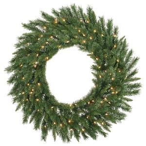 Vickerman Imperial Wreath with Dura-Lit 200 Clear Light and 840 Tips, 72-Inch