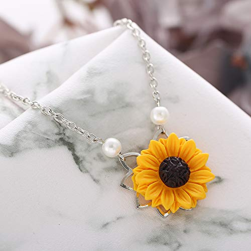 17mile Sunflower Pearl Leaf Chain Resin Boho Handmade Drop Pendant Choker Necklace Plated Gold//Rose Gold//Silver TVYB006-leaf-gold