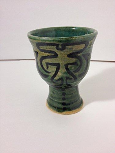 16 oz Hand Thrown Green Goblet with Black Design