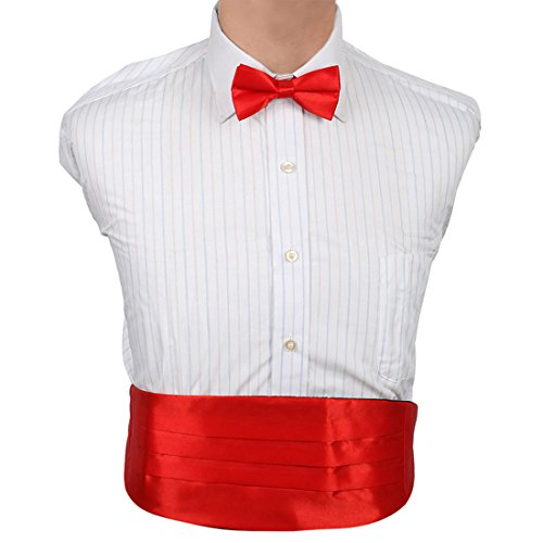 DIC1E01A Red Plain Soft Stain Italian Cummerbund Bow Tie Working Day Cummerbund Matching Bow Tie By Dan Smith (Cummerbund Silver)