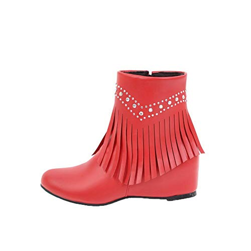 AalarDom Heels Women's Low Red Kitten Zipper Top Solid Boots Pu TSDXH009673 rOrgq