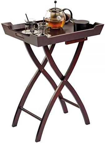 Mesa auxiliar plegable de madera, color caoba bandeja, ocupa poco ...
