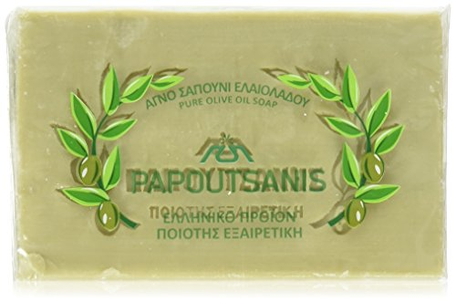 Papoutsanis Traditional Pure Greek Olive Oil Soap 6 Bars of 8.8 Oz (250g) (Water Olive Saponified Oil)