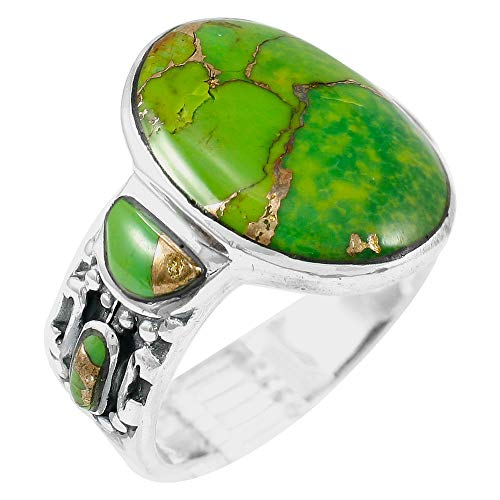 Sterling Silver Gemstone Ring with Genuine Turquoise (SELECT color) (Green Turquoise, 9)