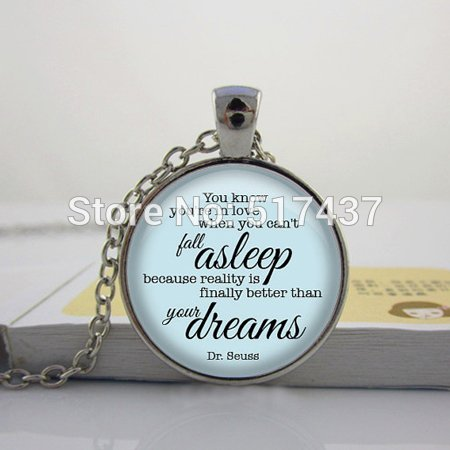 (Pretty Lee P-1 Art Glass Dome Pendant Necklaceyou Know You'Re In Love Necklace Dr. Seuss Quote Pendant Quote Jewelry)
