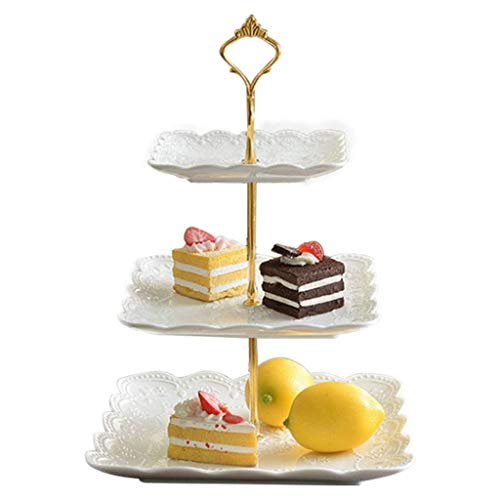 Collectable Teas Dessert Plate - Three-layer Cake Stand Living Room Home Ceramic Fruit Plate Afternoon Tea Dessert Stand Dim Sum Table