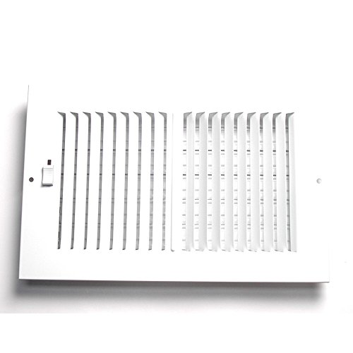 Accord AASWWH2106 Sidewall/Ceiling Register with 2-Way Aluminum Design, 10-Inch x 6-Inch(Duct Opening Measurements), White (6 Way In 2)