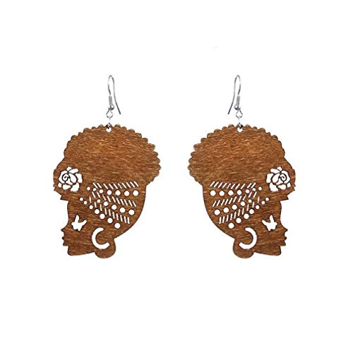 DONGMING Fashion Female Portrait Earrings African Turban Shaped Drop Earrings Creative Hook Dangle Earrings for Women Girl Ear Jewelry Eardrop Gift,Brown