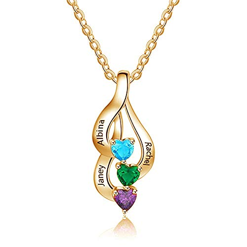 FACOCO Personalized 3 Birthstone and Name Necklace Custom Necklace(Gold-Plated-Base 20) ()