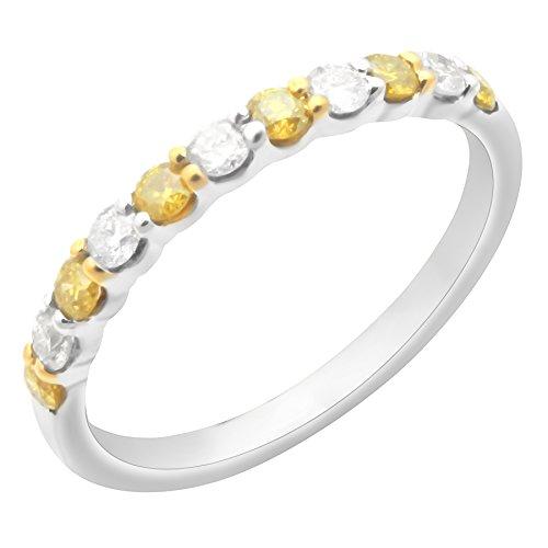 Prism Jewel 0.50Ct Prong Set Yellow Diamond & Natural Diamond Wedding Band, 10k White Gold, Size 6.5 by Prism Jewel