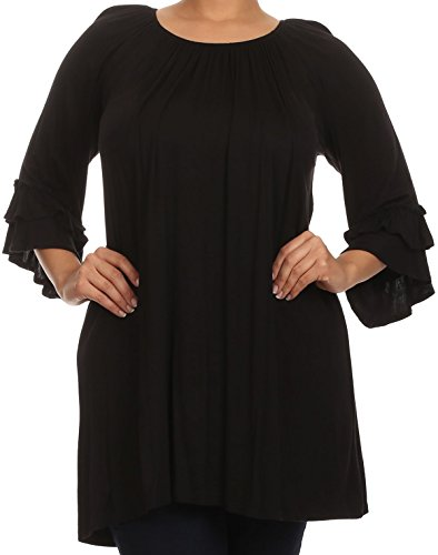 Women Plus Size Half Sleeve Solid Off Shoulder Casual Tunic Top Dress Black 3XL (B608 SD)